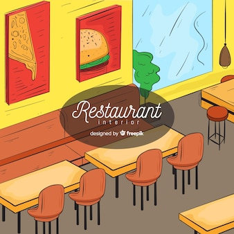 Interior de restaurante moderno mão desenhada