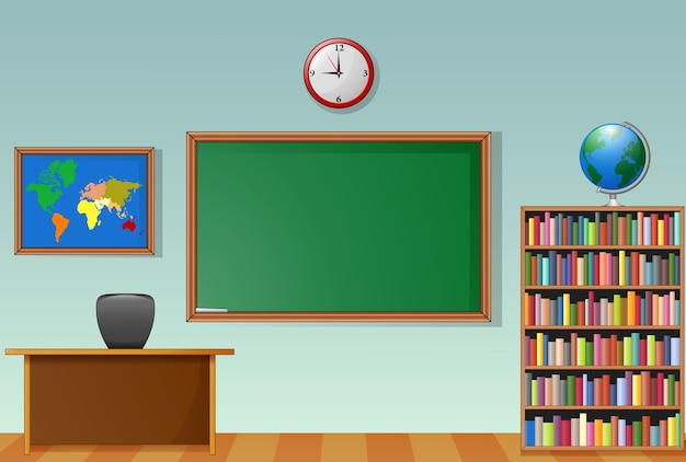 Interior de sala de aula de escola com lousa e mesa do professor