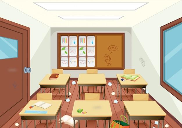 Interior de sala de aula de madeira suja