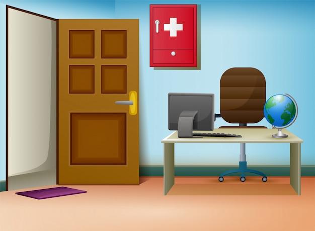 Interior de sala de consulta de médicos em clínica