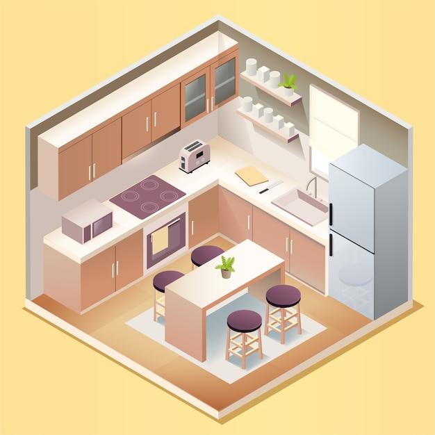 Interior de sala de cozinha moderna com móveis e eletrodomésticos em estilo isométrico