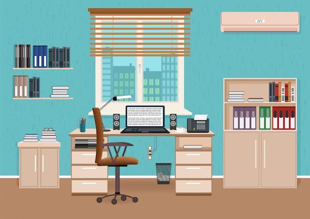 Interior de sala de escritório com espaço de trabalho. projeto de gabinete de trabalho com móveis e acesso ao corredor.