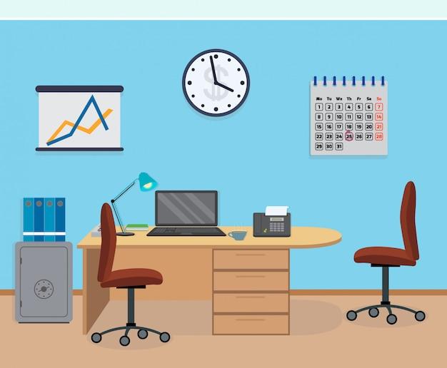 Interior de sala de escritório com móveis, calendário, cofre.