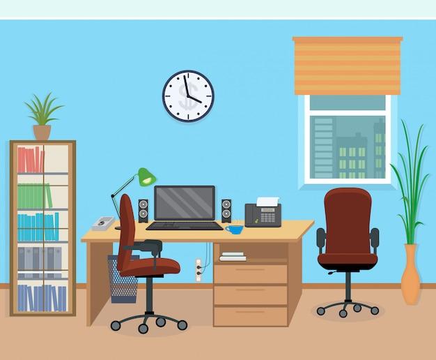 Interior de sala de escritório com móveis e equipamentos.