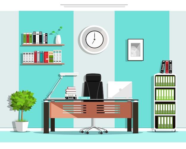 Interior de sala de escritório gráfico legal com móveis: cadeira, mesa, estante de livros, prateleiras, lâmpada. ilustração