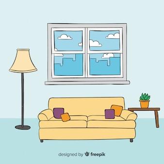Interior de sala de estar elegante mão desenhada