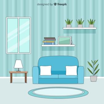 Interior de sala de estar moderna mão desenhada