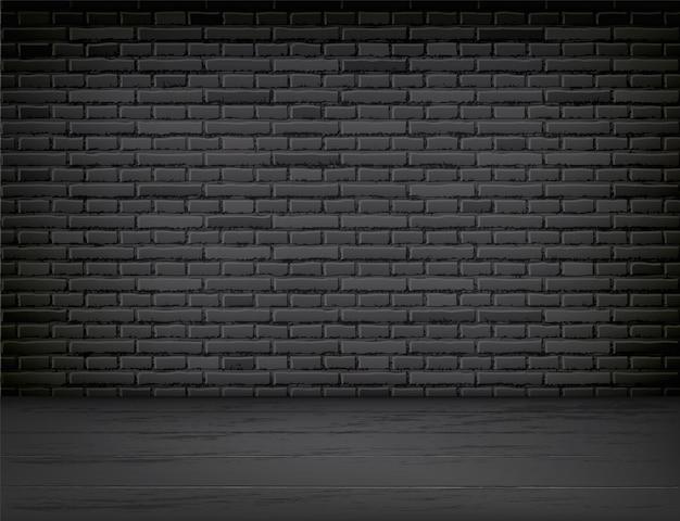Interior de sala vazia realista com parede de tijolo preto e fundo do chão