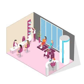 Interior de salão de moda manicure e pedicure. mulher sentada na cadeira e fazendo manicure profissional. verniz para as unhas e pintura. procedimentos de beleza. ilustração isométrica