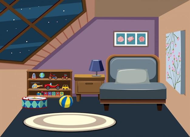 Interior, de, sótão, quarto