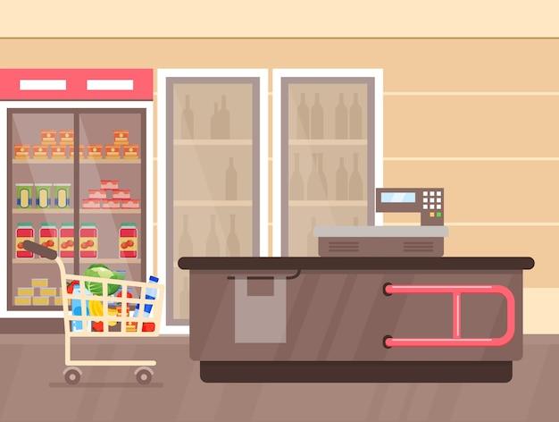 Interior de supermercado com balcão e geladeiras com bebidas, prateleiras e estandes com produtos e mercadorias