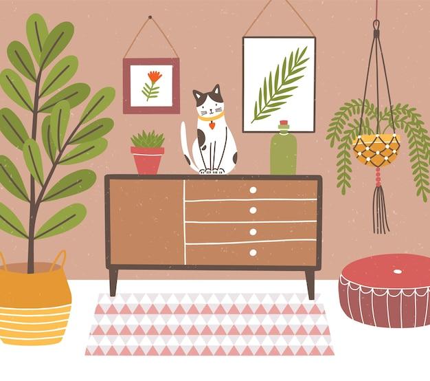 Interior de um quarto confortável com mesa e gato sentado com vasos de plantas