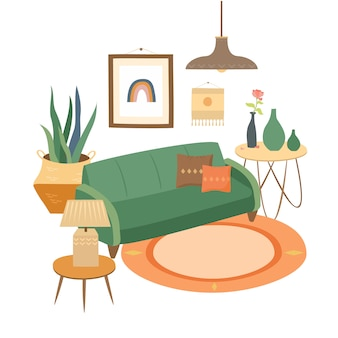 Interior de uma acolhedora sala de estar