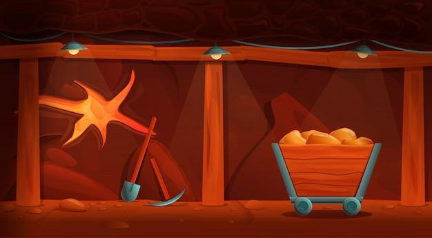 Interior de uma antiga mina dos desenhos animados com ferramentas de ouro e mineração, ilustração vetorial