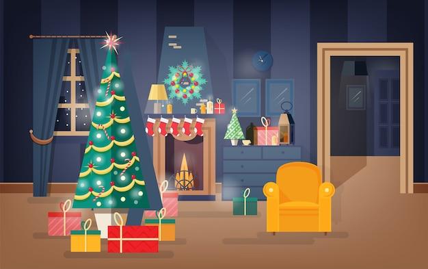 Interior de uma confortável sala de estar decorada para a véspera de natal com pinheiros, lindas guirlandas e grinaldas