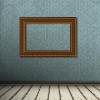 Interior, de, vindima, sala, com, quadro, ligado, parede