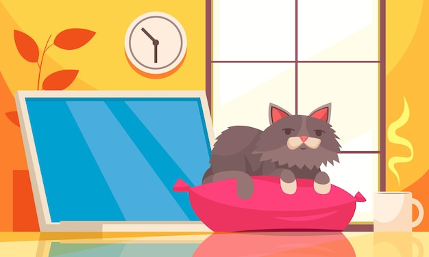 Interior do apartamento com uma xícara de café e um gato no travesseiro