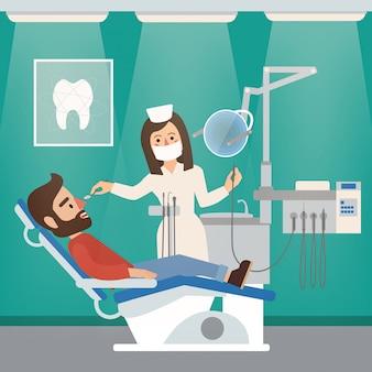 Interior do armário de dentista com médico