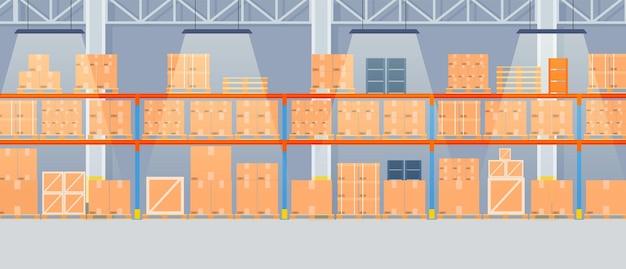 Interior do armazém com caixas de papelão