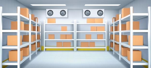 Interior do armazém com caixas em prateleiras