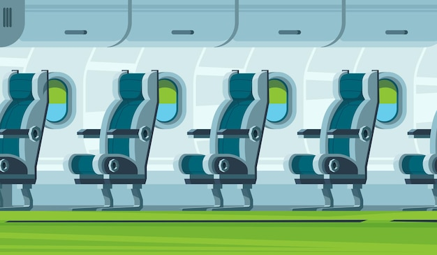 Interior do avião. cabine de transporte assentos ilustração plana de salão de aeronaves.