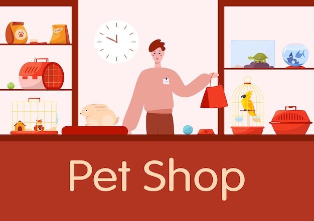 Interior do balcão da loja de animais com o vendedor trabalhador do sexo masculino.