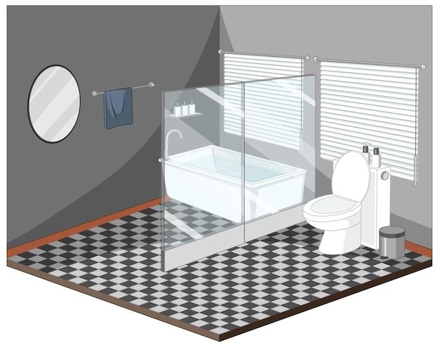 Interior do banheiro com mobília