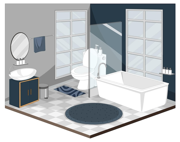 Interior do banheiro com móveis de estilo moderno