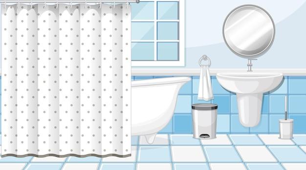 Interior do banheiro com móveis em azul e branco