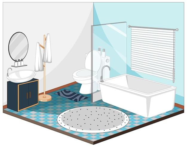 Interior do banheiro com móveis em azul