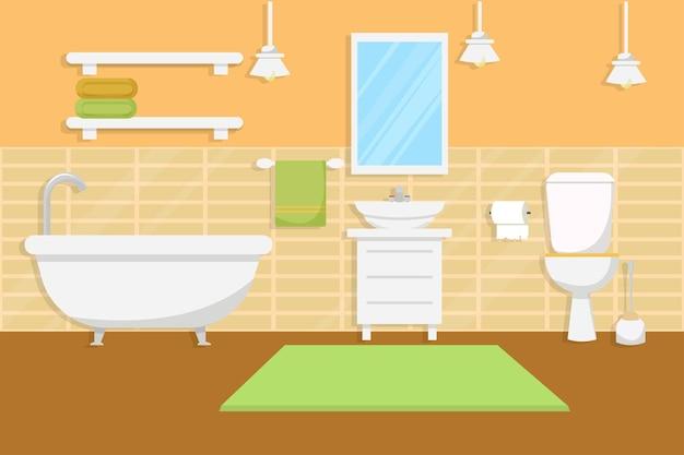 Interior do banheiro com móveis em estilo plano