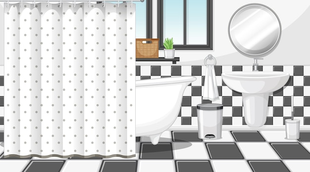 Interior do banheiro com móveis em preto e branco