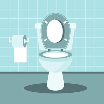 Interior do banheiro com vaso sanitário e papel higiênico