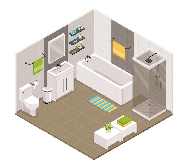 Interior do banheiro isométrico