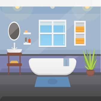 Interior do banheiro ou ilustração da arquitetura e da mobília.