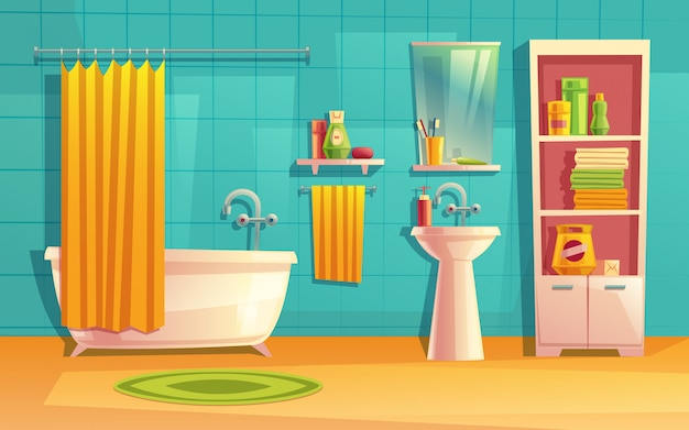 Interior do banheiro, sala com móveis, banheira, prateleiras, espelho, torneira, cortina