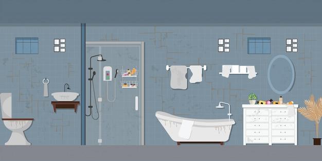 Interior do banheiro sujo com móveis.