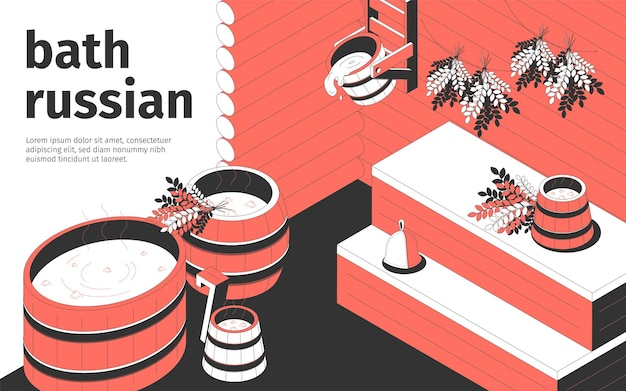 Interior do banho russo e acessórios de madeira 3d composição isométrica