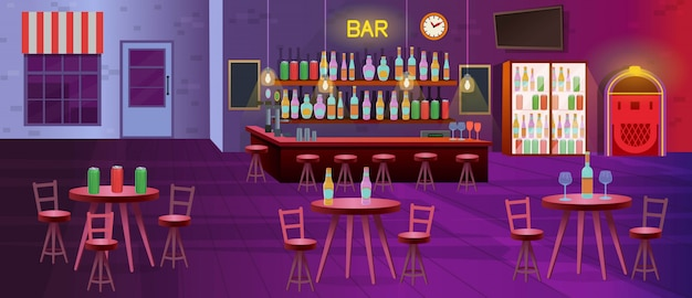 Interior do bar com lâmpadas, mesas com cadeiras, estantes com garrafas de álcool, tv, geladeiras e jukebox. ilustração de desenho vetorial