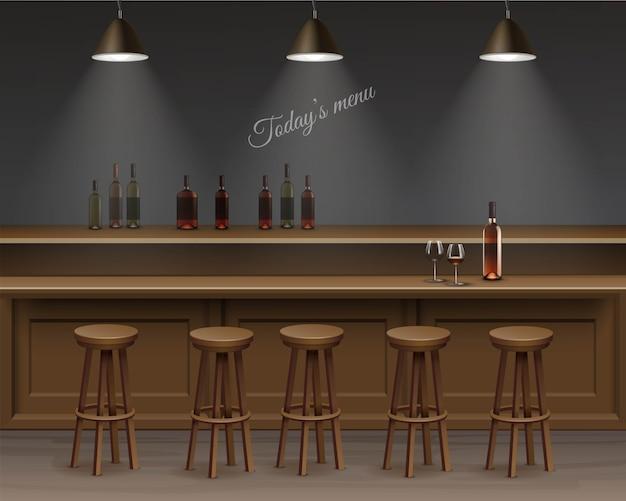 Interior do bar, mesa do balcão.
