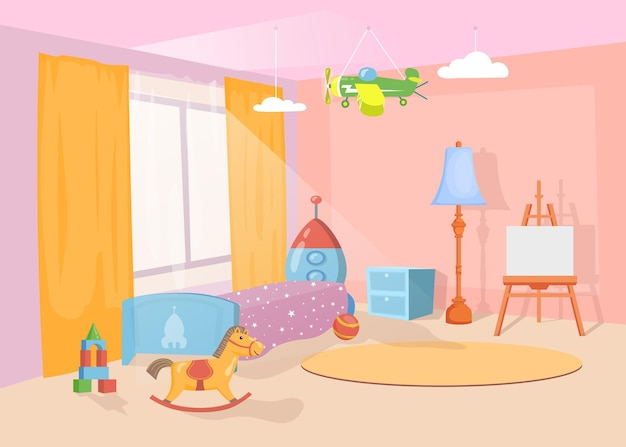Interior do berçário com brinquedos e móveis coloridos. ilustração de desenho animado