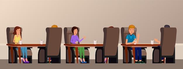 Interior do café com os povos que apreciam o tempo. amigos estão sentados em uma mesa no café ilustração em vetor plana