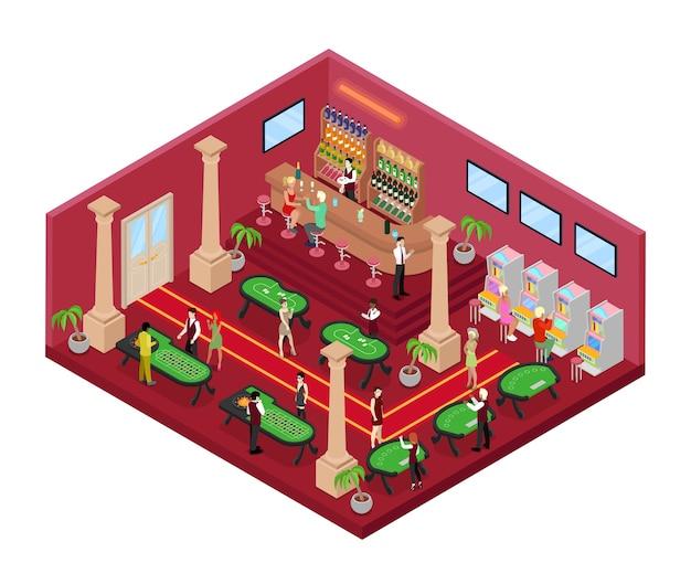 Interior do cassino com roleta e croupier