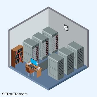 Interior do centro de dados isométrica