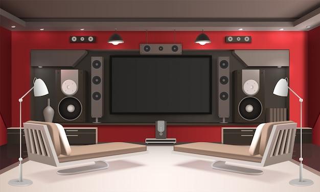 Interior do cinema em casa com paredes vermelhas