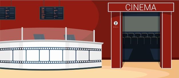 Interior do cinema, sala de cinema no fim de semana.