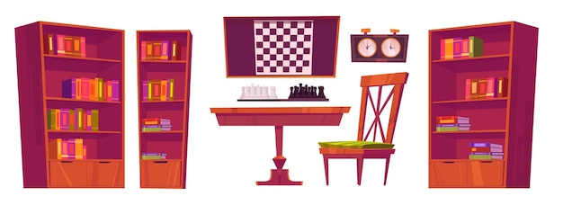 Interior do clube de xadrez com tabuleiro, peças e relógio.