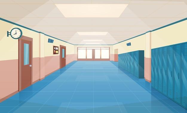 Interior do corredor da escola com portas de entrada, armários e quadro de avisos na parede. corredor vazio na faculdade, universidade com portas de salas de aula fechadas. ilustração vetorial em estilo simples