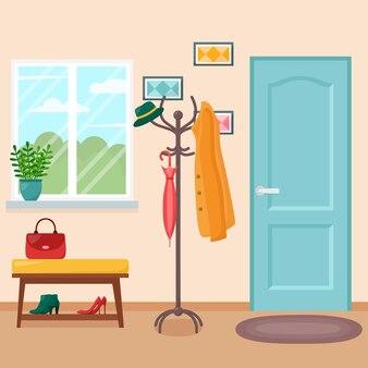 Interior do corredor de casa com porta, ilustração vetorial