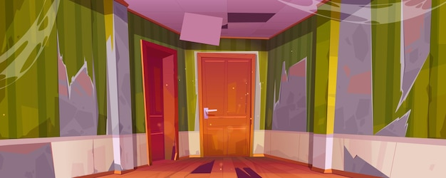 Interior do corredor de uma velha casa abandonada com portas fechadas para os quartos, piso e teto quebrados